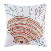 Seabrook Embroidered Scallop Shell Pillow White 18 Square
