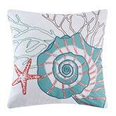 Seabrook Embroidered Nautilus Pillow White 18 Square