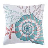 Seabrook Embroidered Nautilus Pillow White 18 Square