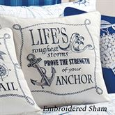 Fair Winds Anchor Embroidered Pillow White 18 Square