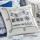 Fair Winds Sail Piped Pillow White 18 Square