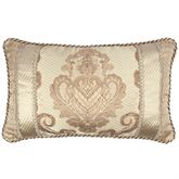 Prosper Damask Corded Pillow Beige Rectangle