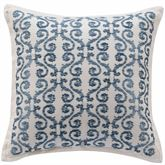 Randolph Embroidered Pillow Steel Blue 16 Square