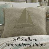 Newport Stripe Sailboat Embroidered Pillow Multi Warm 20 Square