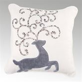 Beaded Reindeer Pillow Off White 13 Square