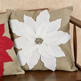 Christmas White Poinsettia Pillow