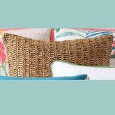 Coco Paradise Raffia Tailored Pillow Multi Bright 18 Square