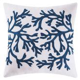 Cape Coral Coastal Embroidered Pillow Indigo 18 Square