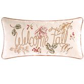 Amison Embroidered Welcome Fall Pillow Ecru Rectangle