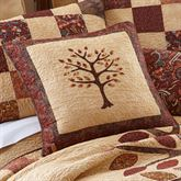 Autumn Tree of Life Embroidered Pillow Multi Warm 18 Square