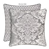 Bel Air Reversible Damask Piped Pillow Silver 18 Square