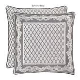 Bel Air Reversible Framed Piped Pillow Silver 20 Square