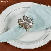 Flower Napkin Rings Antique Silver Set of Four