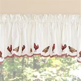 Countryside Rooster Scalloped Valance Dark Red 58 x 12