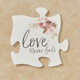 Love Never Fails Quote Puzzle Piece White