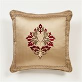 Devonshire Embroidered Pillow Antique Gold 18 Square