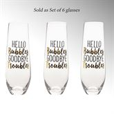 Hello Bubbles Champagne Glasses Clear Set of Six
