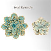 Floral Garden Wall Accents Blue Small Set of 2