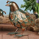 Quail with Head Up Sculpture Copper