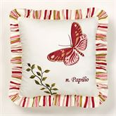 Butterfly Garden Embroidered Pillow Ivory 18 Square