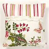 Butterfly Garden Quilted Pillow Ivory 18 Square