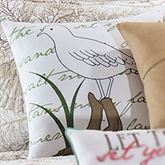 Barefoot Landing Seagull Embroidered Pillow White 18 Square