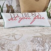 Barefoot Landing Versed Embroidered Pillow White Rectangle