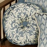 Sterling Piped Button Round Pillow Steel Blue Round