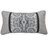 Paisley Pizzaz Piped Pillow Charcoal Rectangle