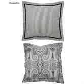 Paisley Pizzaz Reversible Flanged Pillow Charcoal 20 Square