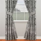 Paisley Pizzaz Wide Tailored Curtain Pair Charcoal 100 x 84