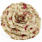 Vintage Rose Ruffled Pillow Flax Round
