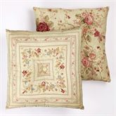 Vintage Rose Tufted Pillow Flax 18 Square