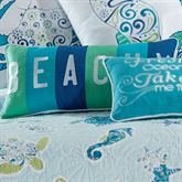 Imperial Coast Beachy Embroidered Pillow Light Blue Rectangle
