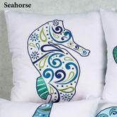 Imperial Coast Seahorse Pillow White 18 Square