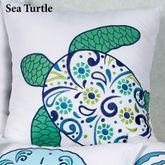 Imperial Coast Sea Turtle Pillow White 18 Square