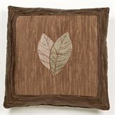 Urban Leaves Embroidered Pillow Multi Warm 18 Square