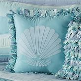 Tides Fringed Shell Square Pillow Cerulean Blue 18 Square