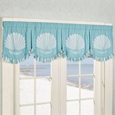 Tides Wide Scalloped Valance Cerulean Blue 78 x 20