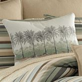 Canvas Stripe Palm Tree Piped Pillow Multi Warm Rectangle