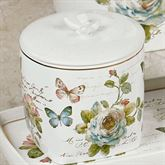 Butterfly Garden Covered Jar Ivory