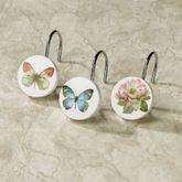 Butterfly Garden Shower Hooks Ivory 12 Piece Set