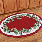 Holly Border Oval Rug Red 36 x 5 Oval
