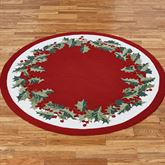 Holly Border Round Rug Red 5 Round
