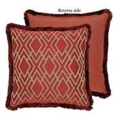 Harrogate Geometric Reversible Fringed Pillow Ember Glow 18 Square