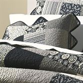 Paris Patch Quilted Pillow Black 15 Square