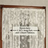 Dancing Leaves Lace Swag Valance Pair Ivory 60 x 38