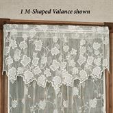 Dancing Leaves Lace M Shaped Valance Ivory 60 x 24