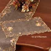 Leaves and Pumpkins Placemats Brown Set of Four