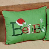 Believe Decorative Pillow Green Rectangle